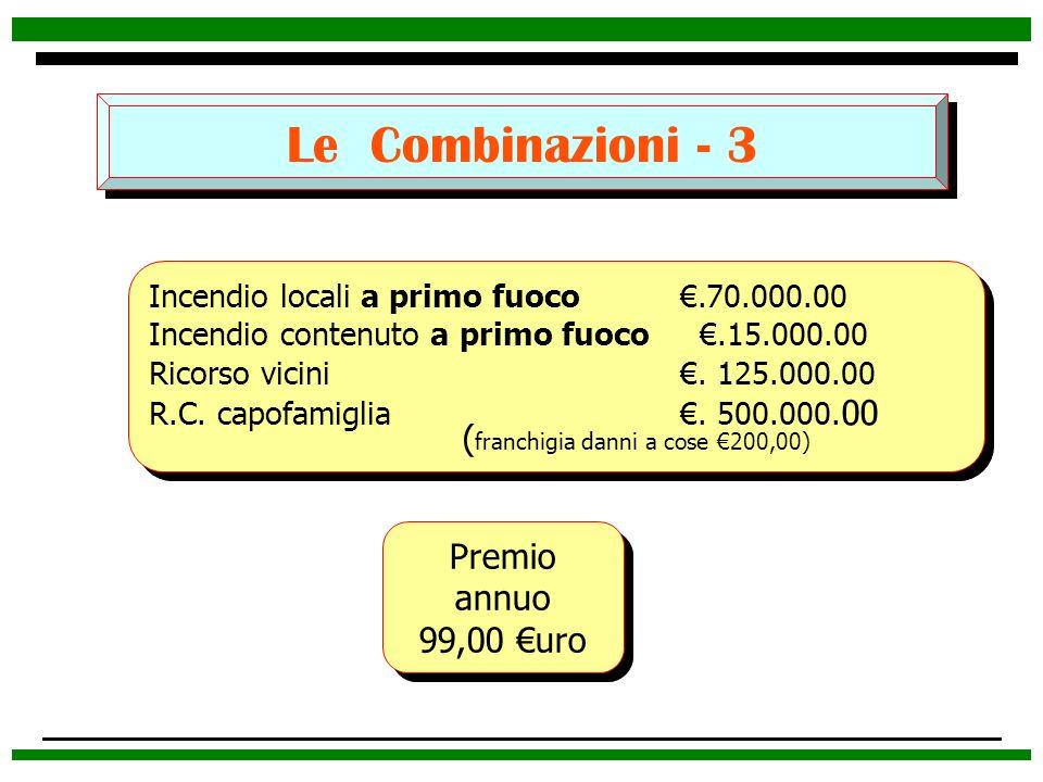 Le Combinazioni - 3 Premio annuo 99,00 uro Premio annuo 99,00 uro Incendio locali a primo fuoco.70.000.00 Incendio contenuto a primo fuoco.15.000.00 R