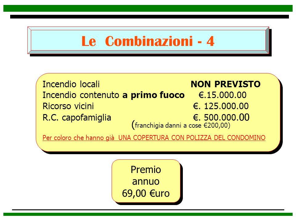Le Combinazioni - 4 Premio annuo 69,00 uro Premio annuo 69,00 uro Incendio locali NON PREVISTO Incendio contenuto a primo fuoco.15.000.00 Ricorso vici