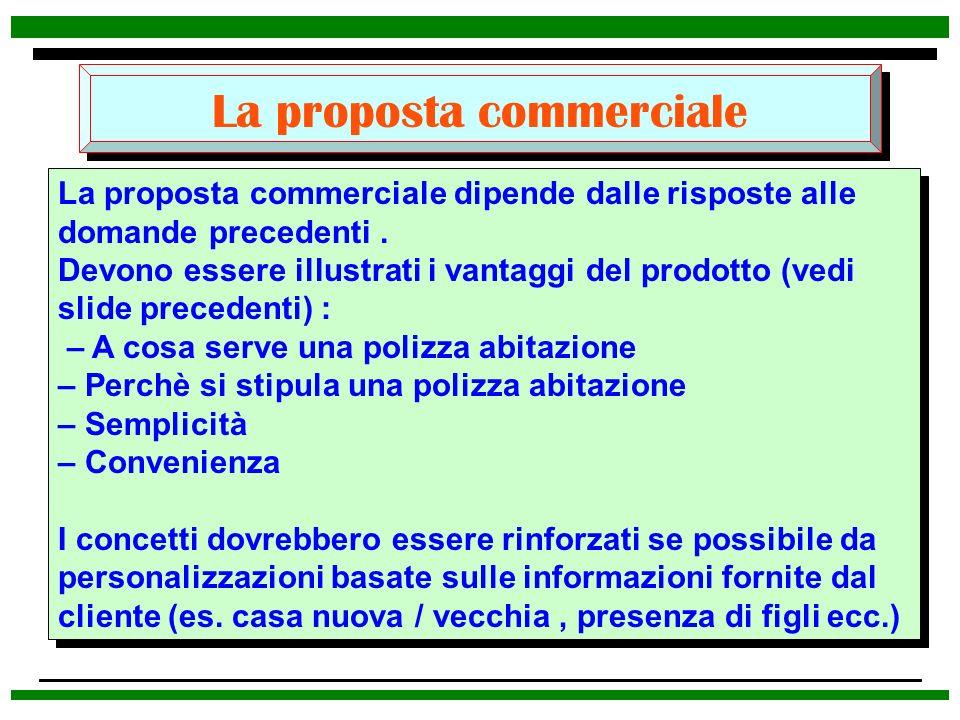 La proposta commerciale La proposta commerciale dipende dalle risposte alle domande precedenti. Devono essere illustrati i vantaggi del prodotto (vedi