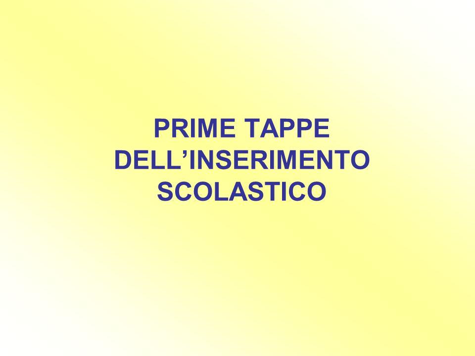 PRIME TAPPE DELLINSERIMENTO SCOLASTICO