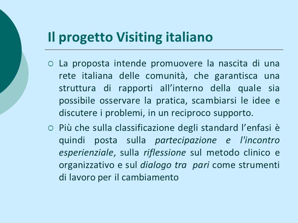 Il progetto Visiting italiano La proposta intende promuovere la nascita di una rete italiana delle comunità, che garantisca una struttura di rapporti allinterno della quale sia possibile osservare la pratica, scambiarsi le idee e discutere i problemi, in un reciproco supporto.