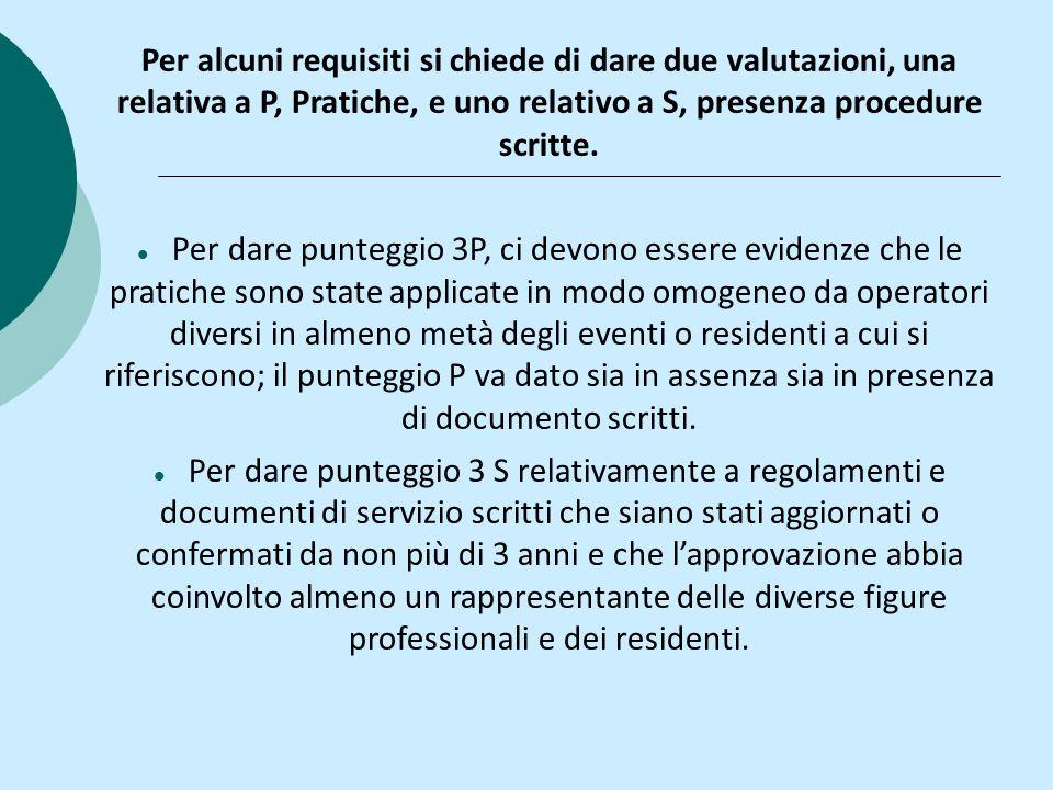Per alcuni requisiti si chiede di dare due valutazioni, una relativa a P, Pratiche, e uno relativo a S, presenza procedure scritte. Per dare punteggio