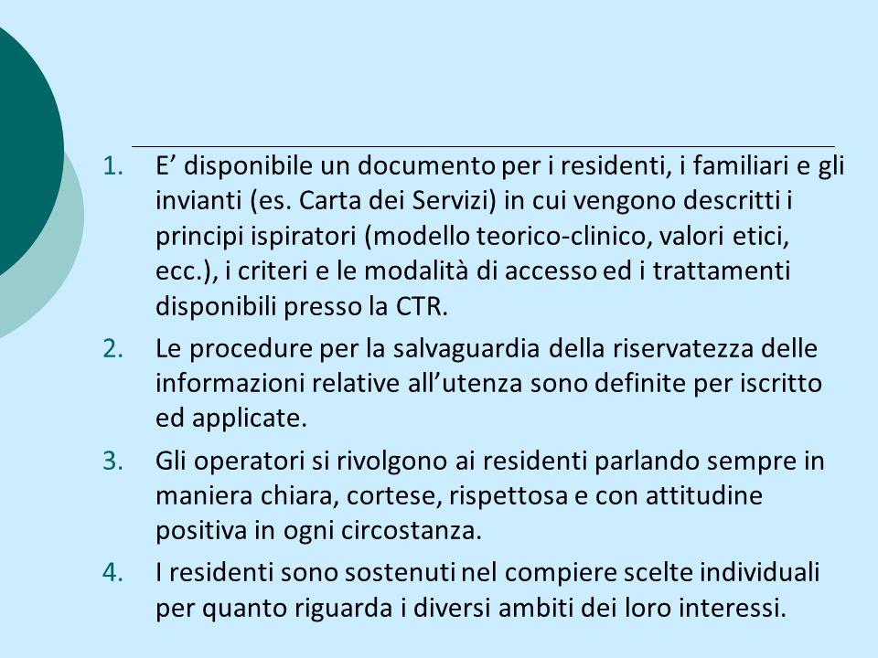 1.E disponibile un documento per i residenti, i familiari e gli invianti (es. Carta dei Servizi) in cui vengono descritti i principi ispiratori (model