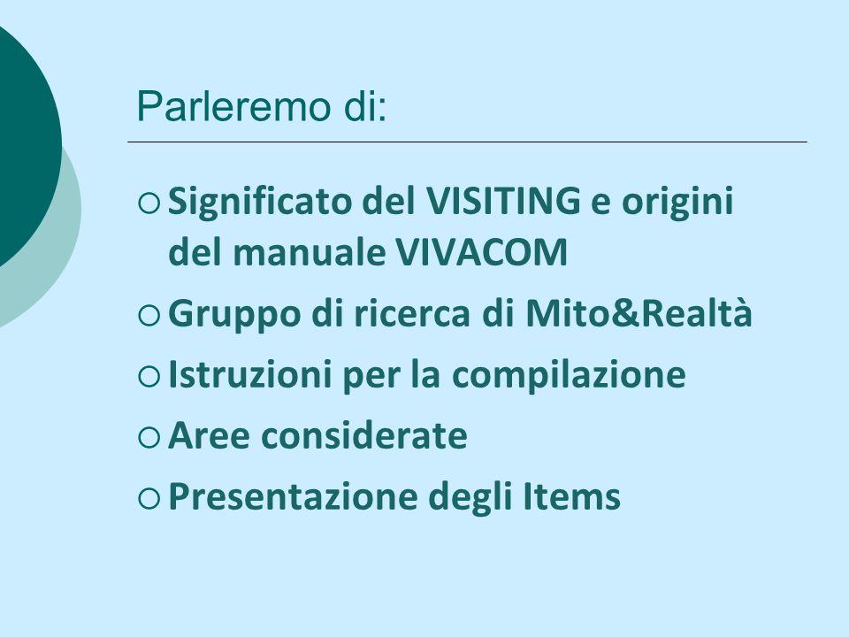 Parleremo di: Significato del VISITING e origini del manuale VIVACOM Gruppo di ricerca di Mito&Realtà Istruzioni per la compilazione Aree considerate Presentazione degli Items