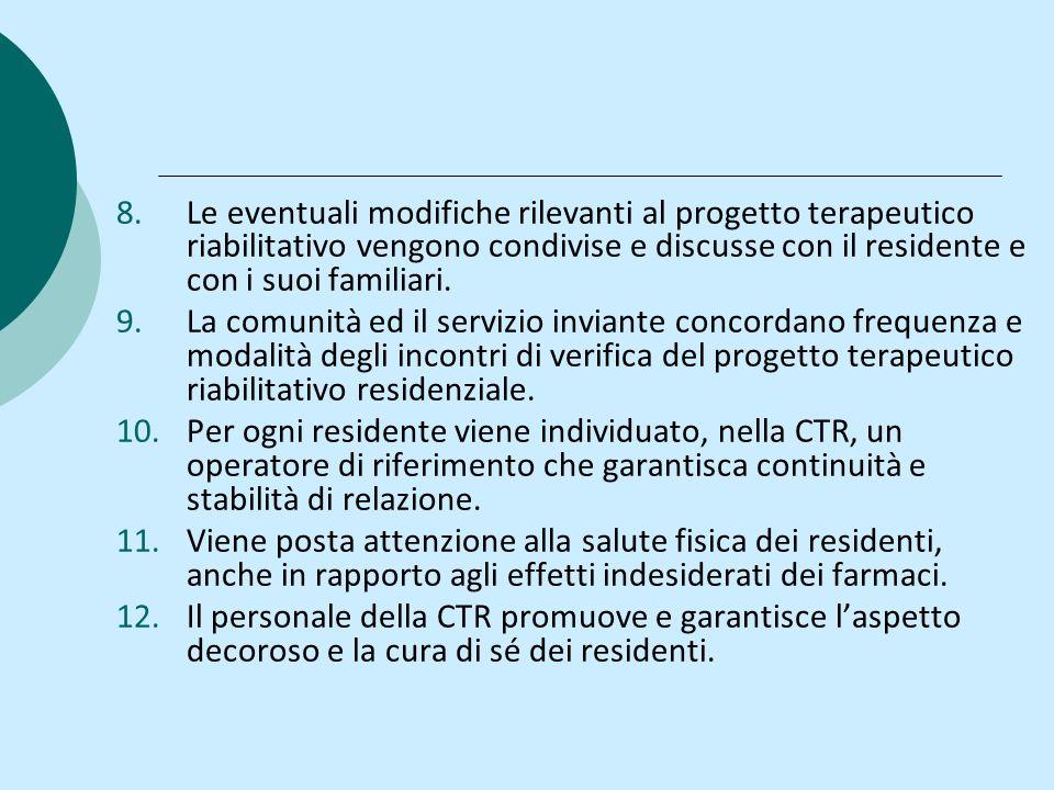 8.Le eventuali modifiche rilevanti al progetto terapeutico riabilitativo vengono condivise e discusse con il residente e con i suoi familiari.