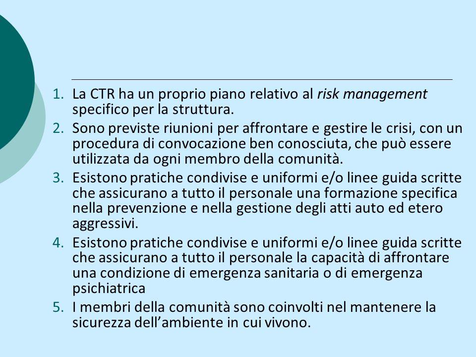1.La CTR ha un proprio piano relativo al risk management specifico per la struttura. 2.Sono previste riunioni per affrontare e gestire le crisi, con u