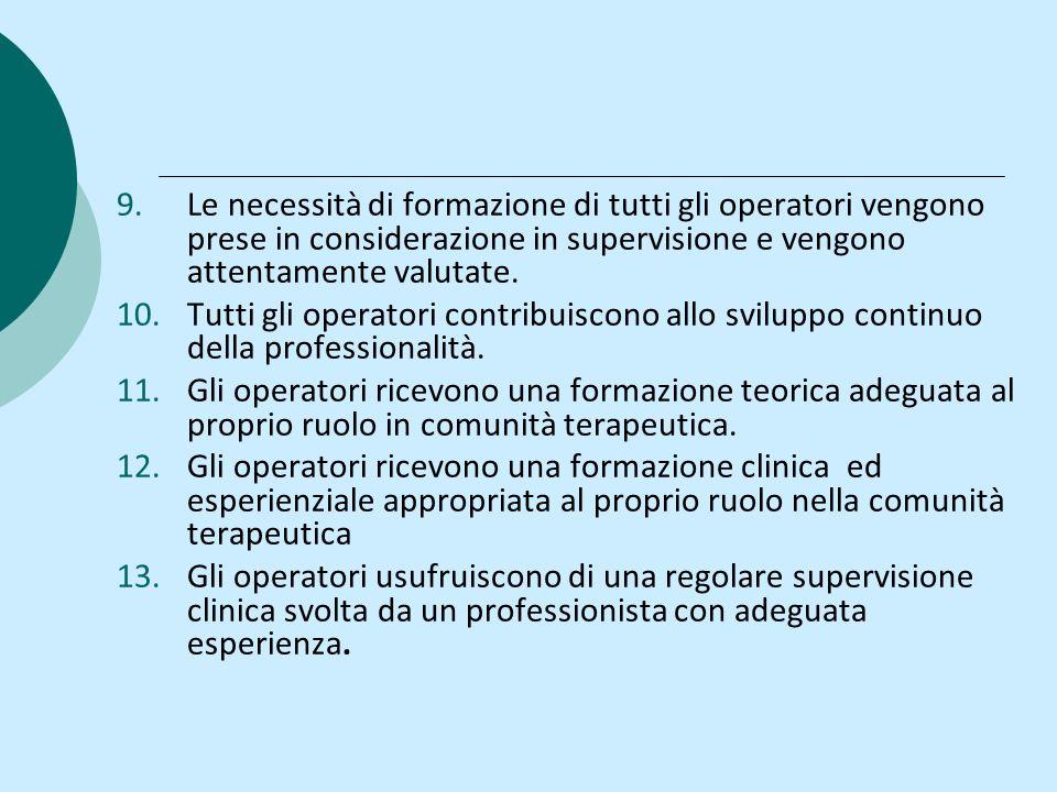 9.Le necessità di formazione di tutti gli operatori vengono prese in considerazione in supervisione e vengono attentamente valutate. 10.Tutti gli oper
