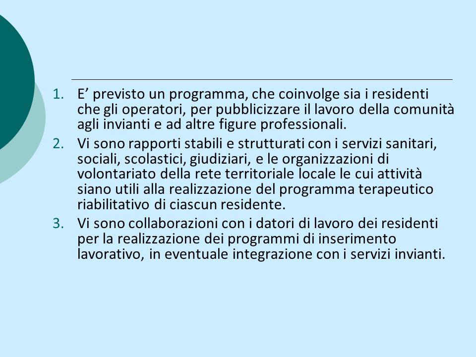 1.E previsto un programma, che coinvolge sia i residenti che gli operatori, per pubblicizzare il lavoro della comunità agli invianti e ad altre figure professionali.