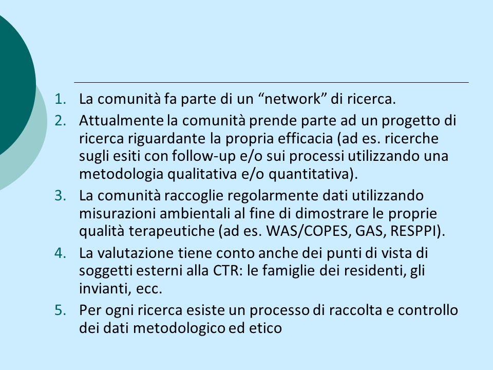 1.La comunità fa parte di un network di ricerca. 2.Attualmente la comunità prende parte ad un progetto di ricerca riguardante la propria efficacia (ad
