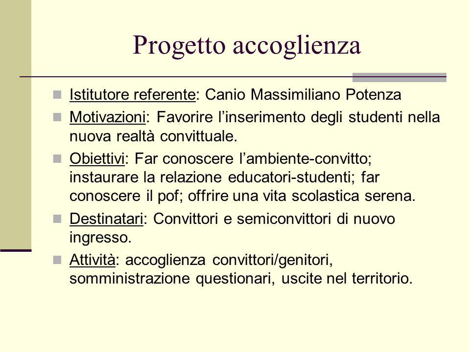 Progetto accoglienza Istitutore referente: Canio Massimiliano Potenza Motivazioni: Favorire linserimento degli studenti nella nuova realtà convittuale