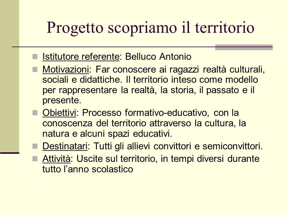 Progetto scopriamo il territorio Istitutore referente: Belluco Antonio Motivazioni: Far conoscere ai ragazzi realtà culturali, sociali e didattiche. I