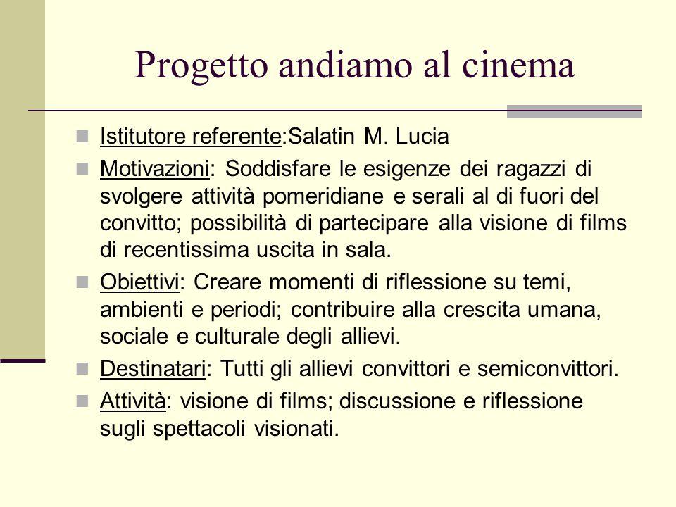 Progetto andiamo al cinema Istitutore referente:Salatin M. Lucia Motivazioni: Soddisfare le esigenze dei ragazzi di svolgere attività pomeridiane e se