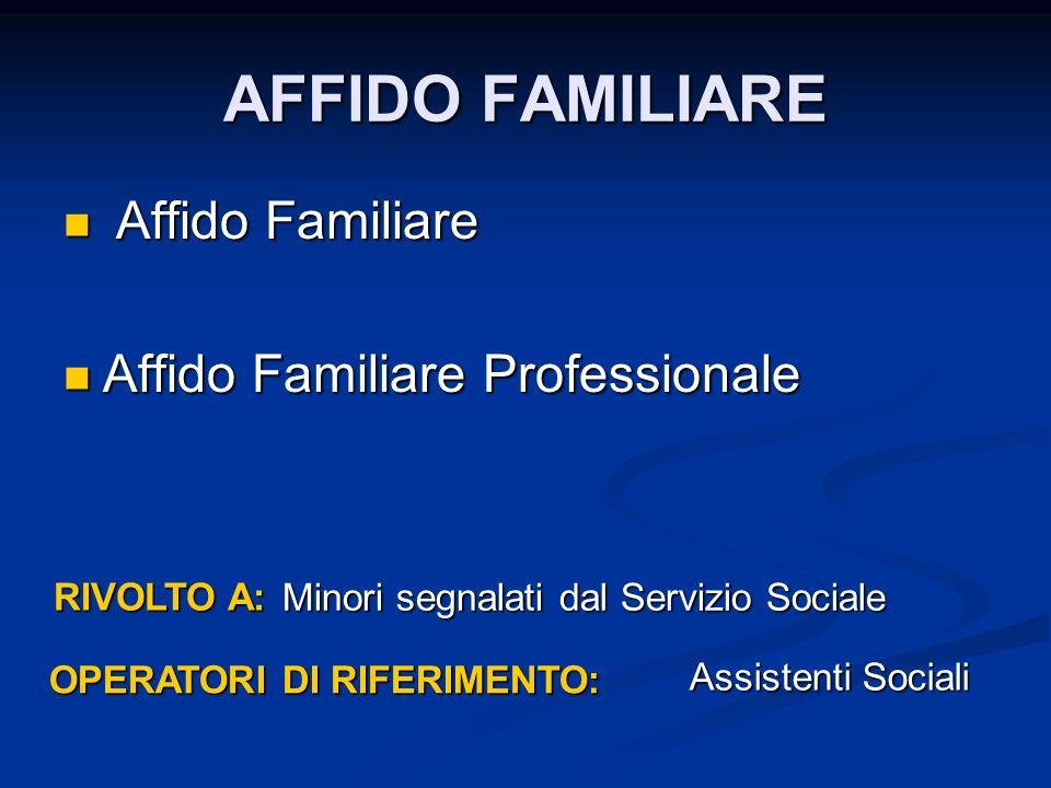 AFFIDO FAMILIARE Affido Familiare Affido Familiare Affido Familiare Professionale Affido Familiare Professionale RIVOLTO A: OPERATORI DI RIFERIMENTO: Minori segnalati dal Servizio Sociale Assistenti Sociali