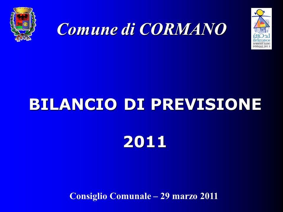 BILANCIO DI PREVISIONE 2011 Comune di CORMANO Consiglio Comunale – 29 marzo 2011