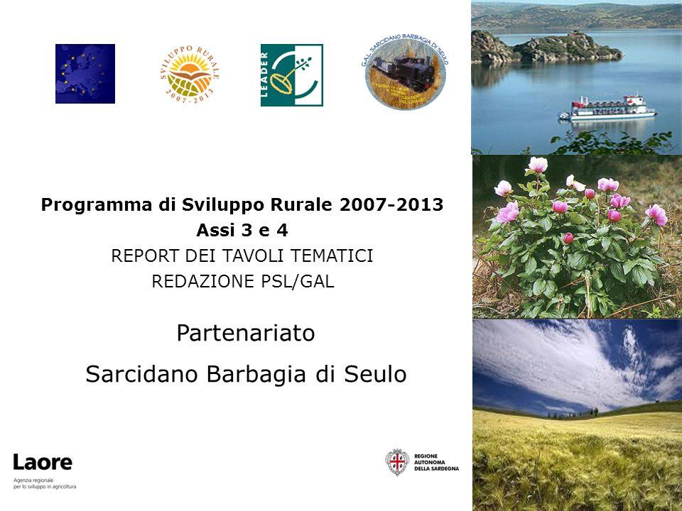 Partenariato Sarcidano Barbagia di Seulo Programma di Sviluppo Rurale 2007-2013 Assi 3 e 4 REPORT DEI TAVOLI TEMATICI REDAZIONE PSL/GAL