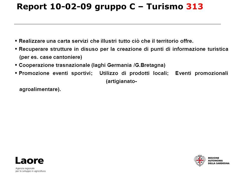 Report 10-02-09 gruppo C – Turismo 313 Realizzare una carta servizi che illustri tutto ciò che il territorio offre.