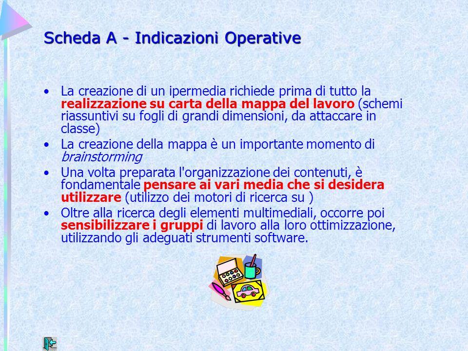 Scheda A - Indicazioni Operative La creazione di un ipermedia richiede prima di tutto la realizzazione su carta della mappa del lavoro (schemi riassun