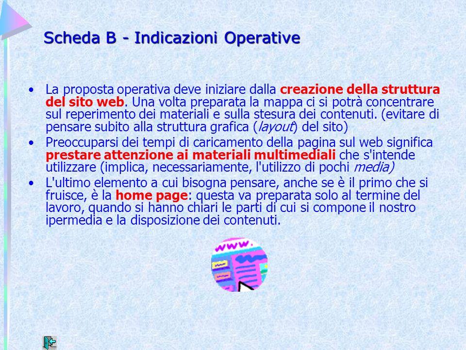 Scheda B - Indicazioni Operative La proposta operativa deve iniziare dalla creazione della struttura del sito web. Una volta preparata la mappa ci si