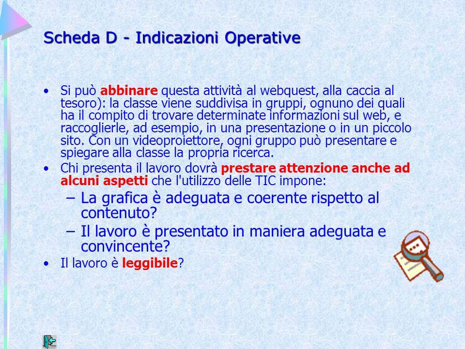 Scheda D - Indicazioni Operative Si può abbinare questa attività al webquest, alla caccia al tesoro): la classe viene suddivisa in gruppi, ognuno dei