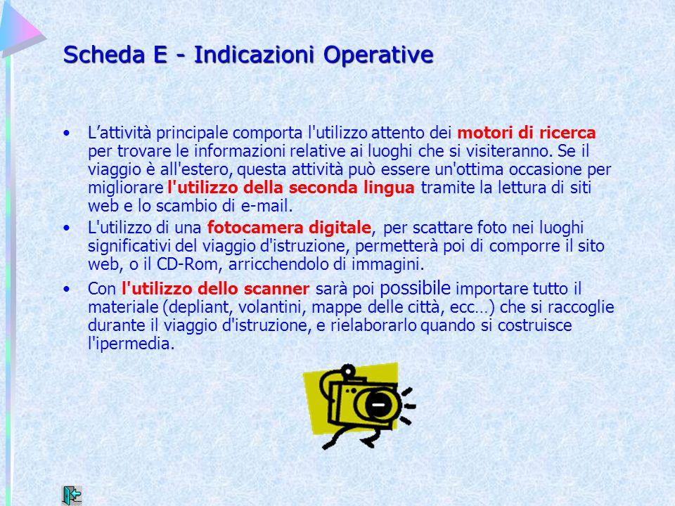 Scheda E - Indicazioni Operative Lattività principale comporta l'utilizzo attento dei motori di ricerca per trovare le informazioni relative ai luoghi