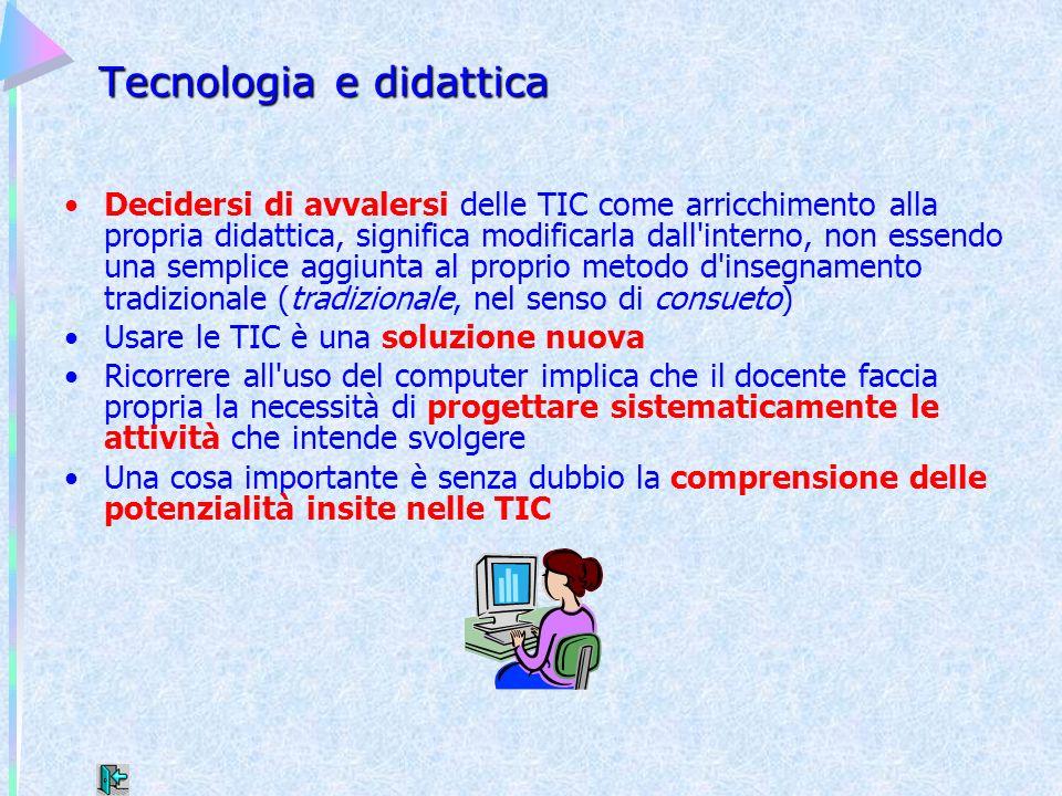Tecnologia e didattica Decidersi di avvalersi delle TIC come arricchimento alla propria didattica, significa modificarla dall'interno, non essendo una