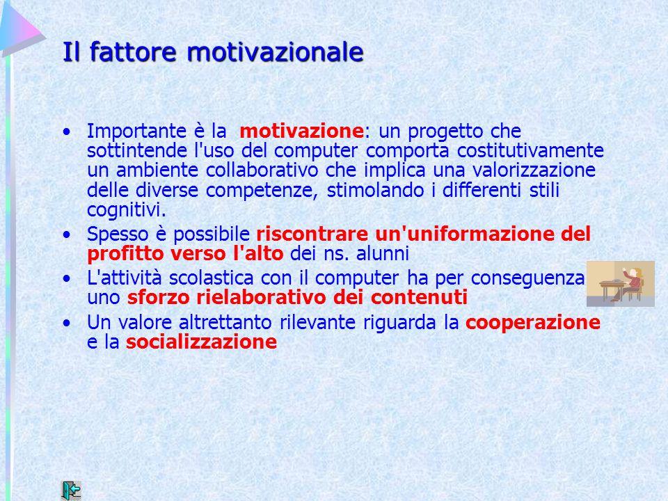 Il fattore motivazionale Importante è la motivazione: un progetto che sottintende l'uso del computer comporta costitutivamente un ambiente collaborati