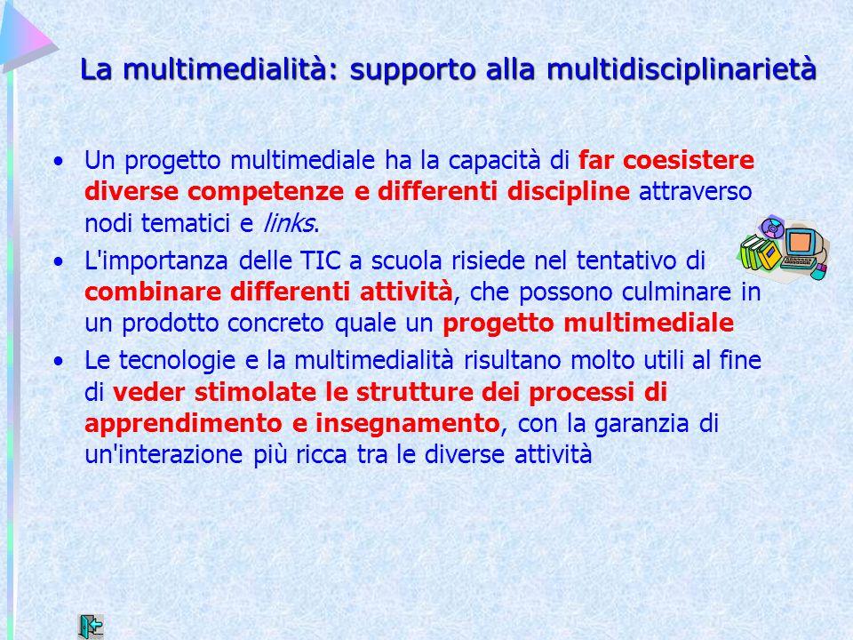 La multimedialità: supporto alla multidisciplinarietà Un progetto multimediale ha la capacità di far coesistere diverse competenze e differenti discip