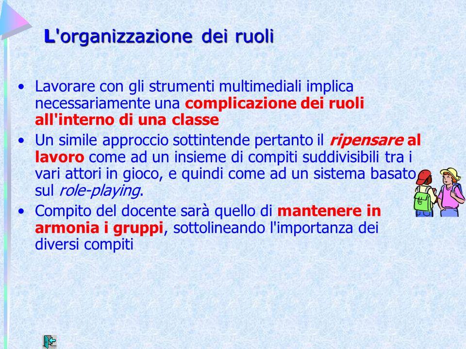 L'organizzazione dei ruoli Lavorare con gli strumenti multimediali implica necessariamente una complicazione dei ruoli all'interno di una classe Un si