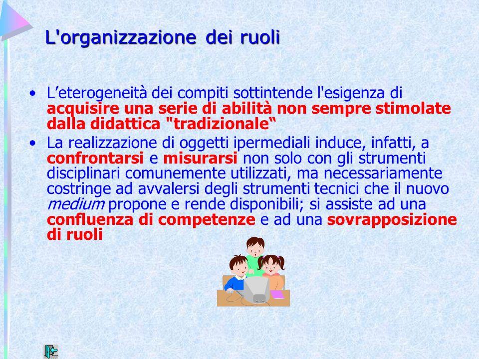 L'organizzazione dei ruoli Leterogeneità dei compiti sottintende l'esigenza di acquisire una serie di abilità non sempre stimolate dalla didattica