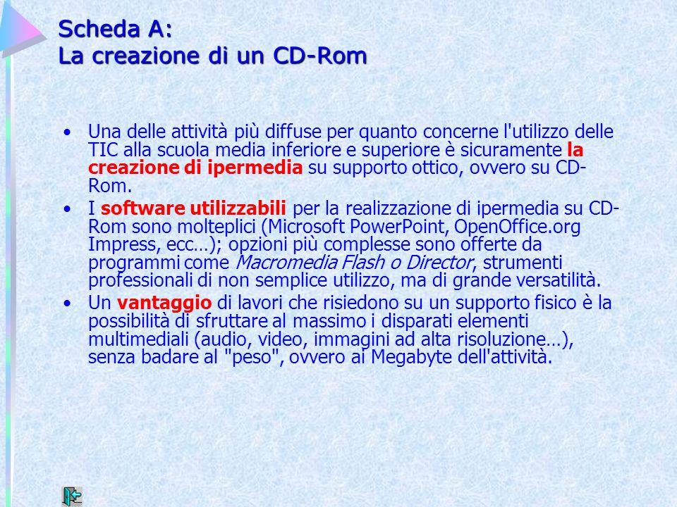 Scheda A: La creazione di un CD-Rom Una delle attività più diffuse per quanto concerne l'utilizzo delle TIC alla scuola media inferiore e superiore è
