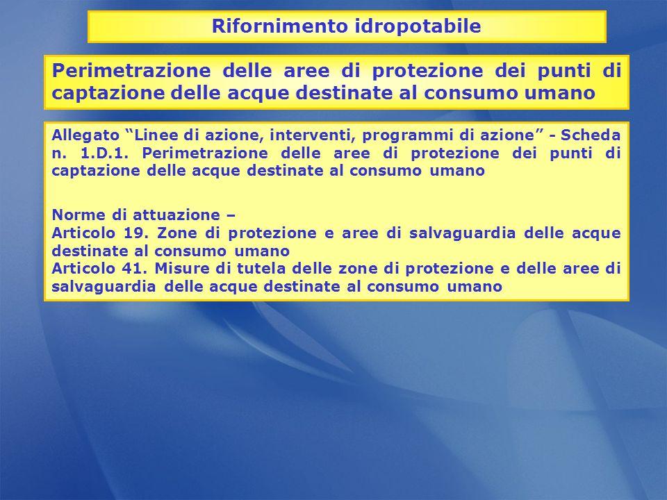 Perimetrazione delle aree di protezione dei punti di captazione delle acque destinate al consumo umano Allegato Linee di azione, interventi, programmi