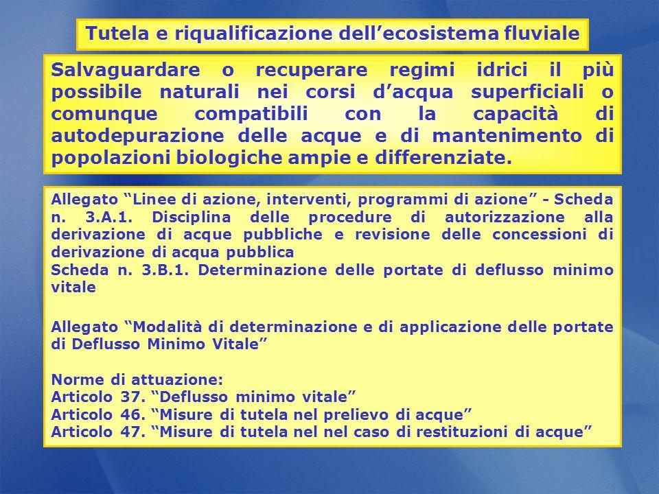 Allegato Linee di azione, interventi, programmi di azione - Scheda n. 3.A.1. Disciplina delle procedure di autorizzazione alla derivazione di acque pu