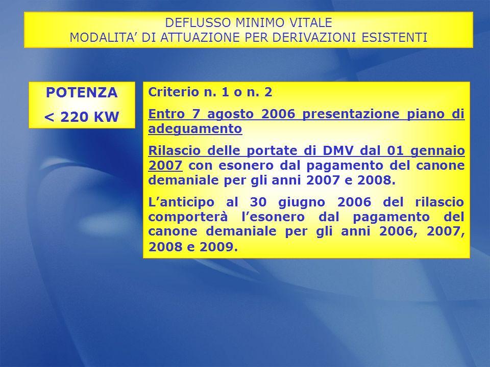 Criterio n. 1 o n. 2 Entro 7 agosto 2006 presentazione piano di adeguamento Rilascio delle portate di DMV dal 01 gennaio 2007 con esonero dal pagament