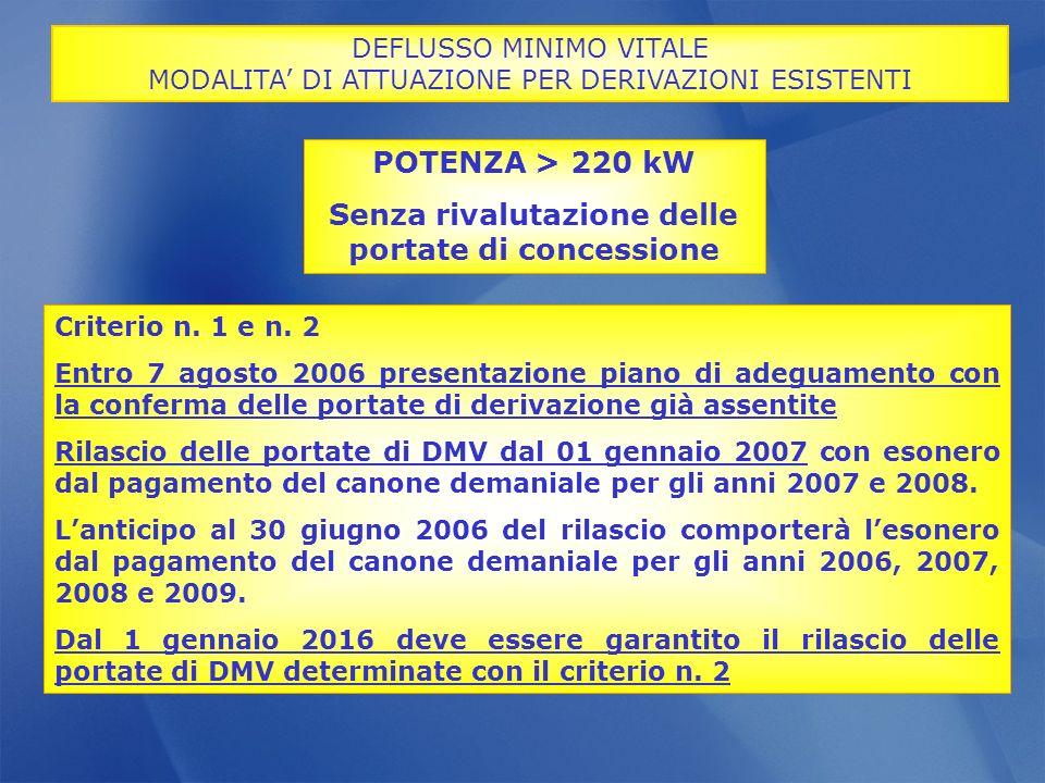 Criterio n. 1 e n. 2 Entro 7 agosto 2006 presentazione piano di adeguamento con la conferma delle portate di derivazione già assentite Rilascio delle