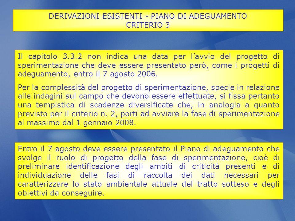 Il capitolo 3.3.2 non indica una data per lavvio del progetto di sperimentazione che deve essere presentato però, come i progetti di adeguamento, entr