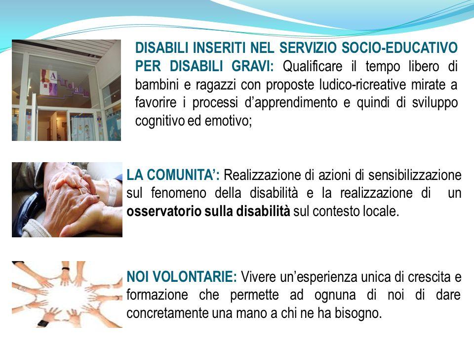 LA COMUNITA: Realizzazione di azioni di sensibilizzazione sul fenomeno della disabilità e la realizzazione di un osservatorio sulla disabilità sul contesto locale.