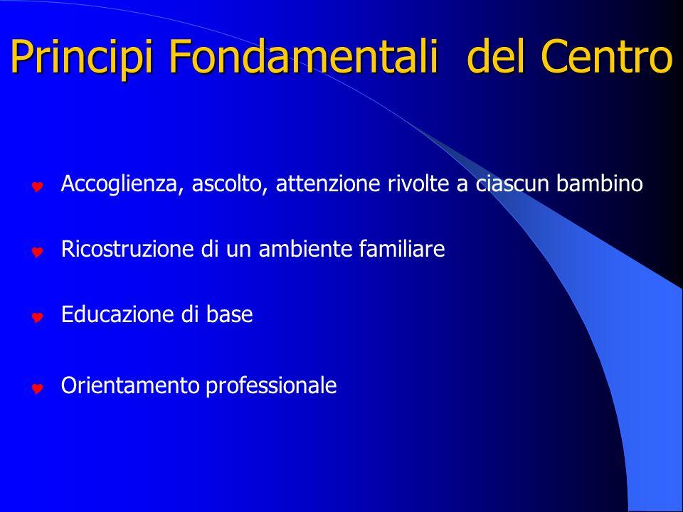 Principi Fondamentali del Centro Accoglienza, ascolto, attenzione rivolte a ciascun bambino Ricostruzione di un ambiente familiare Educazione di base