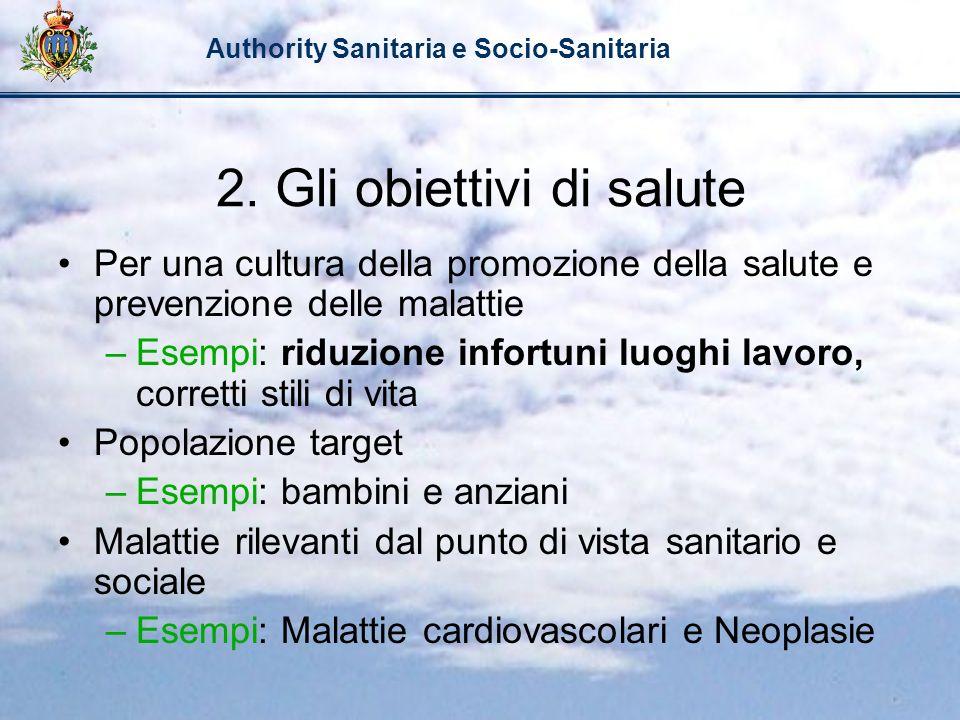 Authority Sanitaria e Socio-Sanitaria 2. Gli obiettivi di salute Per una cultura della promozione della salute e prevenzione delle malattie –Esempi: r