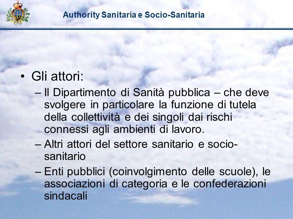 Authority Sanitaria e Socio-Sanitaria Gli attori: –Il Dipartimento di Sanità pubblica – che deve svolgere in particolare la funzione di tutela della c