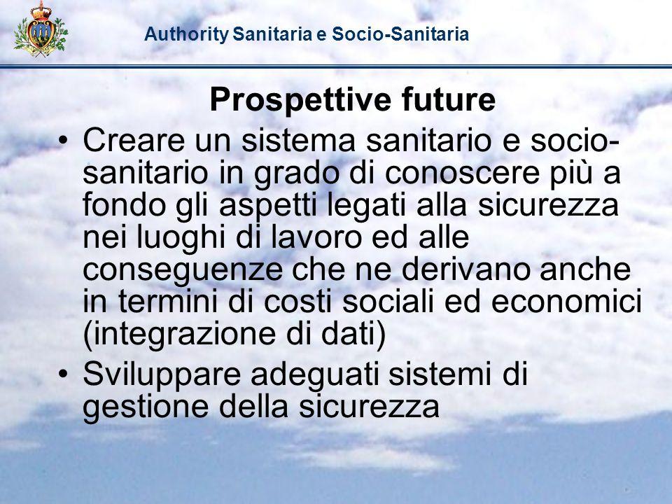 Authority Sanitaria e Socio-Sanitaria Prospettive future Creare un sistema sanitario e socio- sanitario in grado di conoscere più a fondo gli aspetti