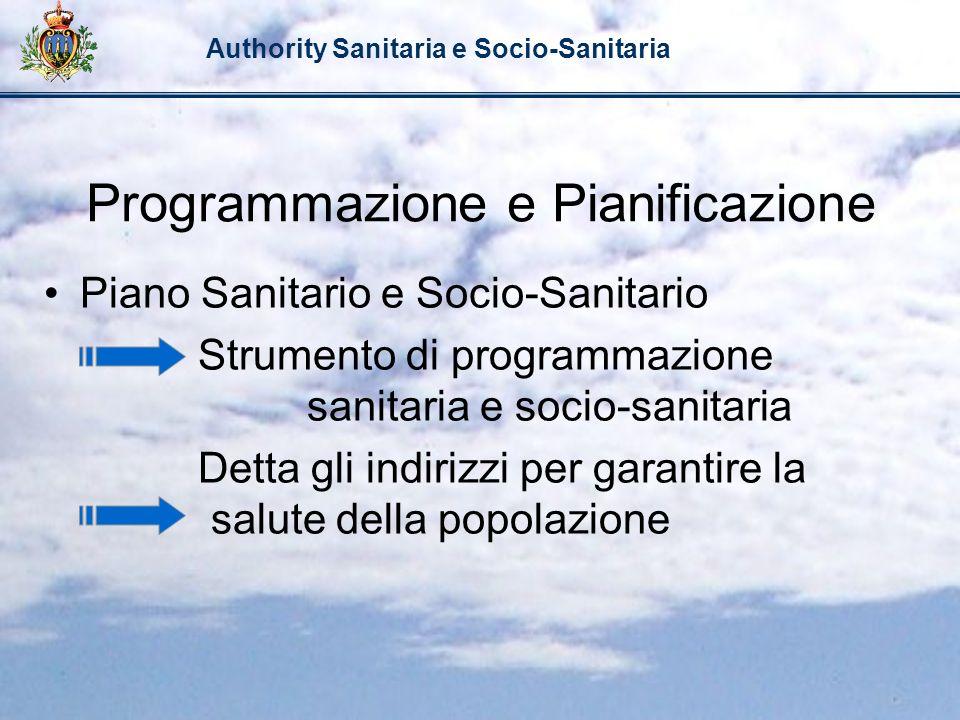 Authority Sanitaria e Socio-Sanitaria Programmazione e Pianificazione Piano Sanitario e Socio-Sanitario Strumento di programmazione sanitaria e socio-