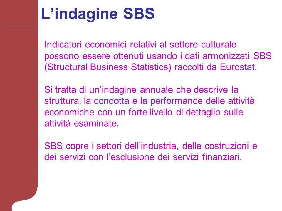 Lindagine SBS Indicatori economici relativi al settore culturale possono essere ottenuti usando i dati armonizzati SBS (Structural Business Statistics) raccolti da Eurostat.