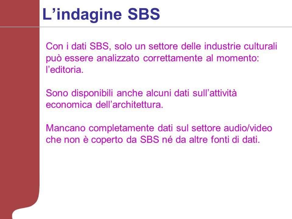Lindagine SBS Con i dati SBS, solo un settore delle industrie culturali può essere analizzato correttamente al momento: leditoria.