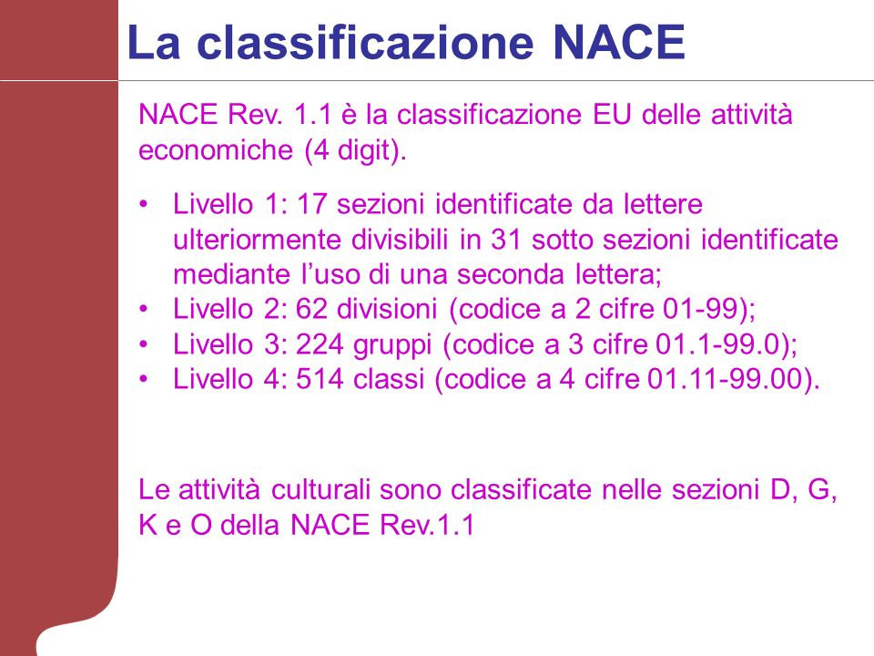 La classificazione NACE Livello 1: 17 sezioni identificate da lettere ulteriormente divisibili in 31 sotto sezioni identificate mediante luso di una seconda lettera; Livello 2: 62 divisioni (codice a 2 cifre 01-99); Livello 3: 224 gruppi (codice a 3 cifre 01.1-99.0); Livello 4: 514 classi (codice a 4 cifre 01.11-99.00).