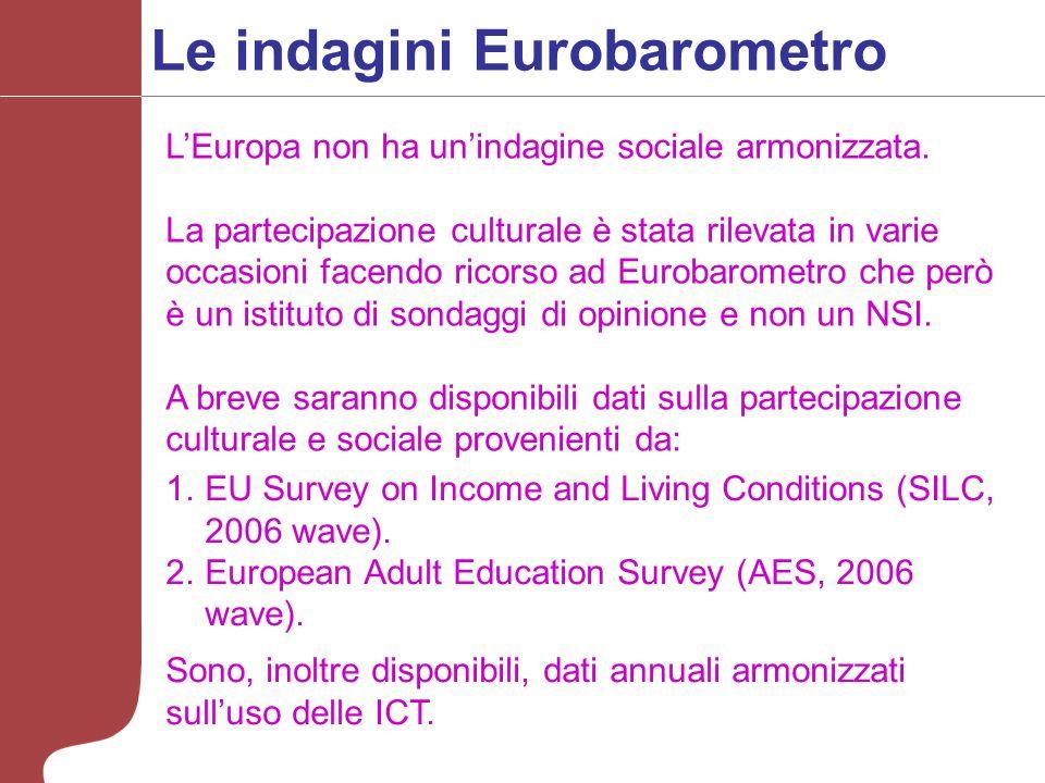 Le indagini Eurobarometro LEuropa non ha unindagine sociale armonizzata.