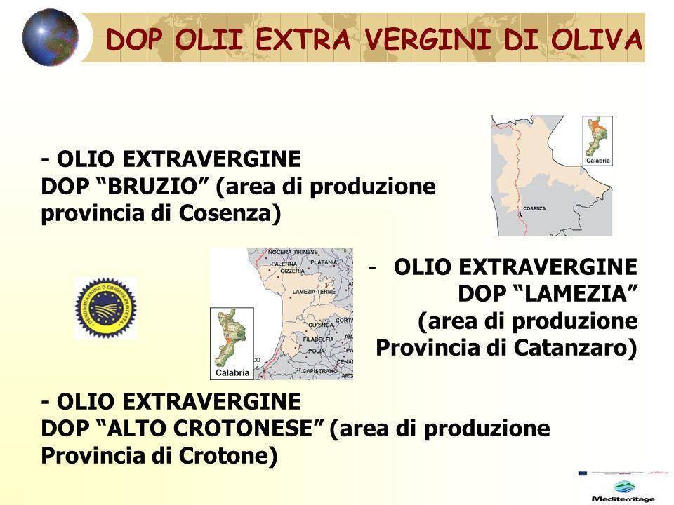 - OLIO EXTRAVERGINE DOP BRUZIO (area di produzione provincia di Cosenza) -OLIO EXTRAVERGINE DOP LAMEZIA (area di produzione Provincia di Catanzaro) - OLIO EXTRAVERGINE DOP ALTO CROTONESE (area di produzione Provincia di Crotone) DOP OLII EXTRA VERGINI DI OLIVA