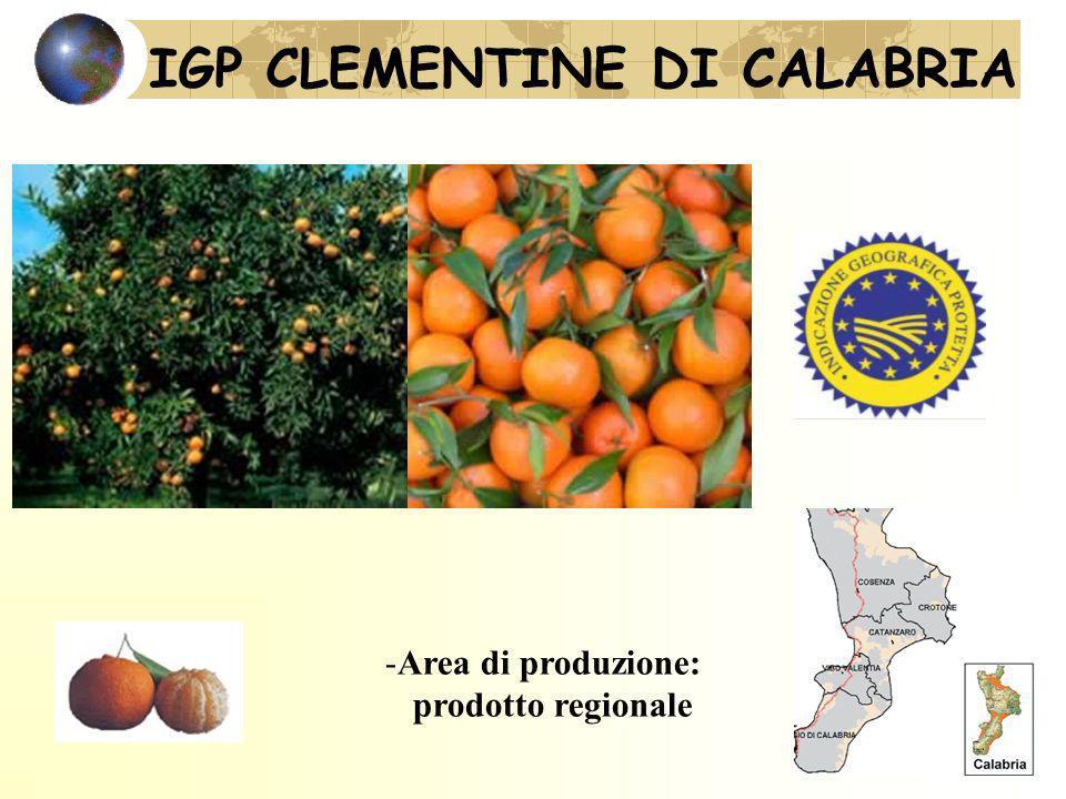 IGP CLEMENTINE DI CALABRIA -Area di produzione: prodotto regionale