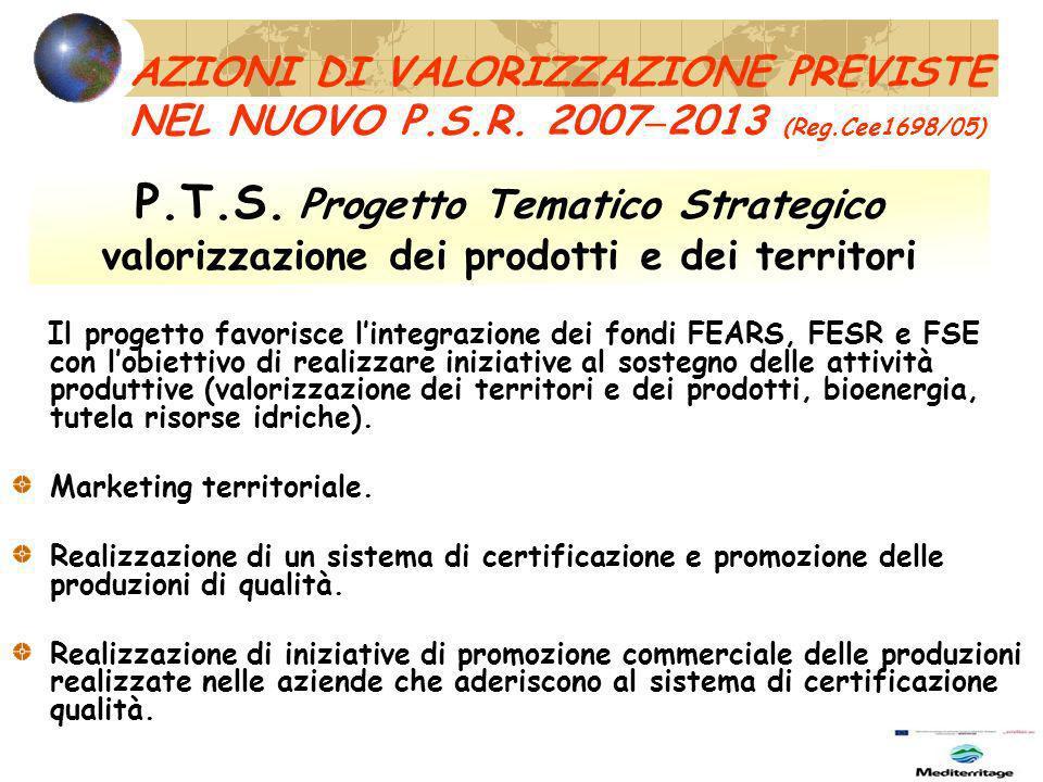 AZIONI DI VALORIZZAZIONE PREVISTE NEL NUOVO P.S.R.