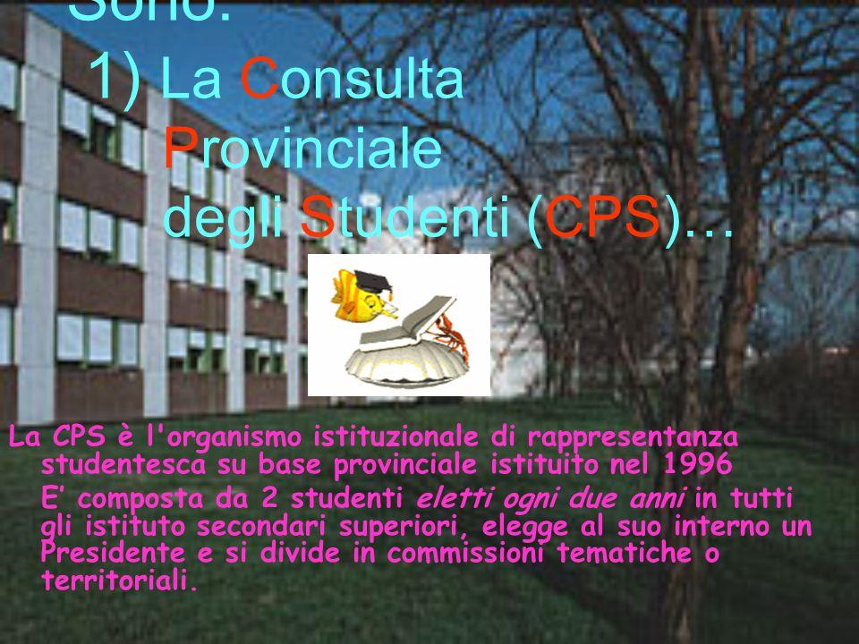 Sono: 1) La Consulta Provinciale degli Studenti (CPS)… La CPS è l'organismo istituzionale di rappresentanza studentesca su base provinciale istituito