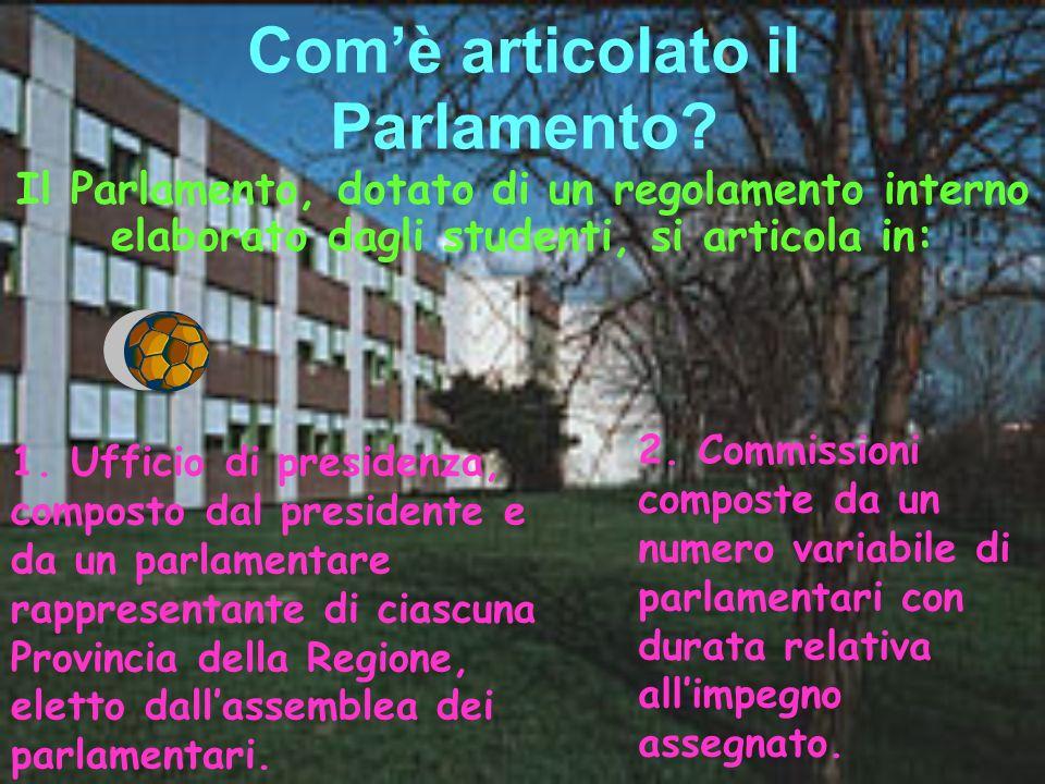 Comè articolato il Parlamento? 2. Commissioni composte da un numero variabile di parlamentari con durata relativa allimpegno assegnato. Il Parlamento,